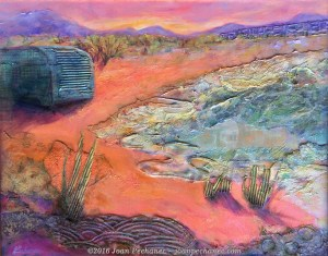 "Salton Sea Desert, Mixed Media by Joan Pechanec 20"" x 16"" $375 This is a mixed media piece chosen for the juried show ""Between the Covers"", art inspired by books, at the Siskiyou Arts Museum in Dunsmuir, California. This is an interpretation of a scene in the thriller ""Desert Angel"" where a girl is running through the desert to escape her mother's killer. I painted the landscape in a surrealistic fashion reflecting Angel's intense and dazed state of mind. Artistically I was interested in the patterns and dimensional texture of the scene. (Charlie Price is an Edgar award-winning novelist and my husband.)"