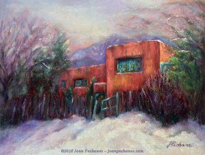Winter in New Mexico, Original Oil Painting by Joan Pechanec, 12 x 16 unframed, 18 x 21 1/2 framed $325 This old adobe house is outside Taos, New Mexico. I liked the way the warm palette of the adobe house contrasted with the cold feel of the snowy setting.