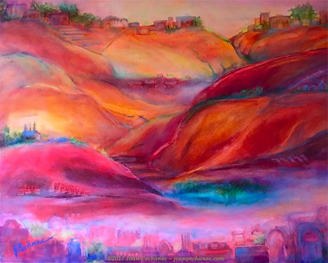"Mirage Oil Image Size: 14"" x 11"" $275 Includes Frame My oil painting, ""Mirage,"" was inspired by a trip to the magical town of Guardia in Algeria, built on 7 hills overlooking an oasis in the Sahara, site of a Bedouin camel market. This painting is included in my Sanctuary series. This series was generated by a call to escape everyday reality into another realm. Each image represents a different form of transcendence or detachment."
