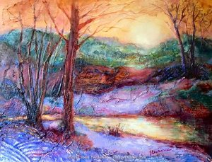 Winter Light Mixed Media (collage, oil, cold wax) by Joan Pechanec Image Size: 16 x 12 $450 Includes Frame