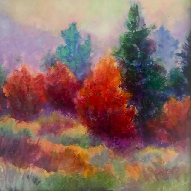 Autumn Color: 12 x12 Original oil painting of mixed evergreens and deciduous trees in autumn color by Joan Pechanec