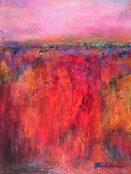 Autumn Fields: 9 x 12 Mixed Media painting by Joan Pechanec - One of a series of 3 small abstracted landscapes, this was inspired by the colorful rural fields in the Oregon autumn.