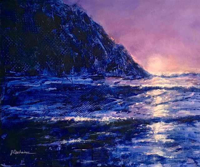 Daybreak, 16 x 20 mixed media painting by Joan Pechanec of the rocky Oregon Coast at dawn