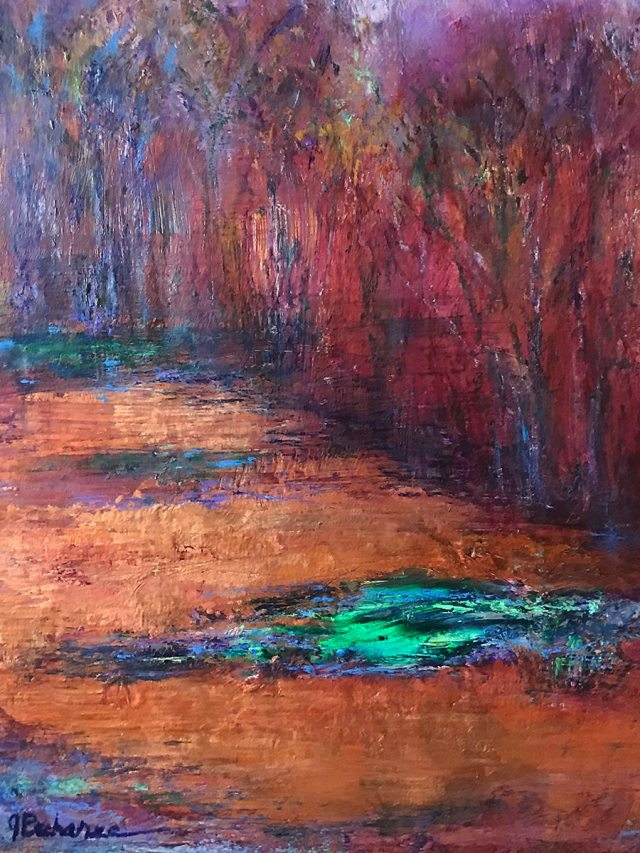 Emerald Pool: 9 x 12 Mixed Media painting by Joan Pechanec: Third of a series of small abstracted landscapes, this is a fantasy image inspired by the emerald pools in Yellowstone, set in a copper forest.