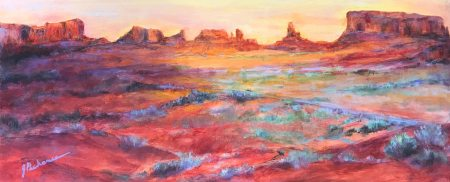 Morning in Monument Valley: 12 x 24 original oil painting by Joan Pechanec of a Utah desert scene