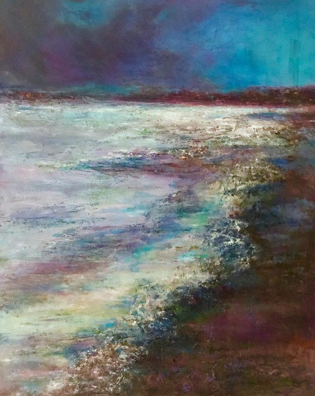 Ocean Dreams: 16 x 20 mixed media painting by Joan Pechanec depicitng a softly multicolored beach scene at night