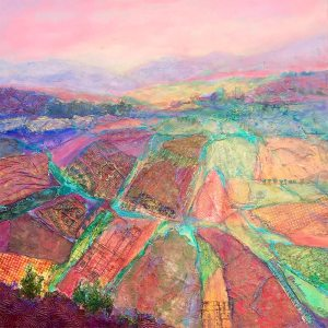 Valley Tapestry ~ Mixed Media: collage, oil, cold wax ~ 20 x 20 ~ $425
