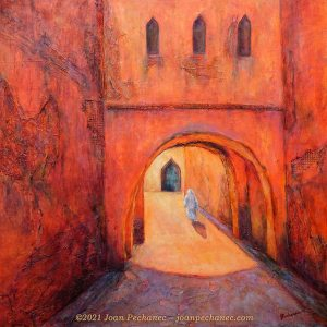 Moroccan Mystery ~ Mixed Media/ Cold Wax on Birchwood Panel ~ 24 x 24 x 1 ½ ~