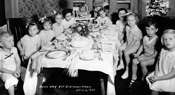 Vintage photo of children's birthday party c.1934