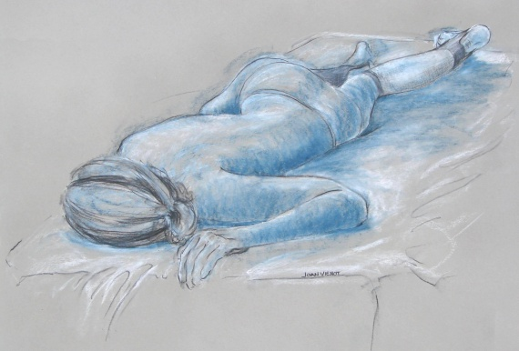 Female Reclining, Blue