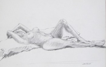 Reclining Female Nude with Ankle Frill