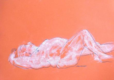2011 0126 Reclining, on Orange