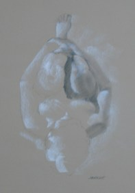 Figure drawing, woman on her back, hugging her knees, unfinished