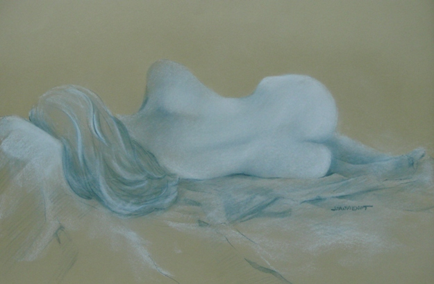 Nupastel and graphite on tan Rives