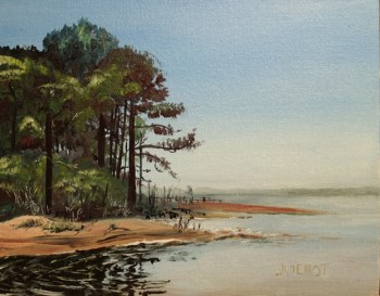 Oil painting of the Bayou at Nick's Restaurant, west of Freeport, Florida