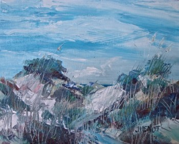 Oil painting of dunes at Grayton Beach State Park