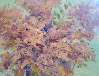 Oil painting of crepe myrtle blossoms, Painted in Julie Gilbert Pollard Workshop