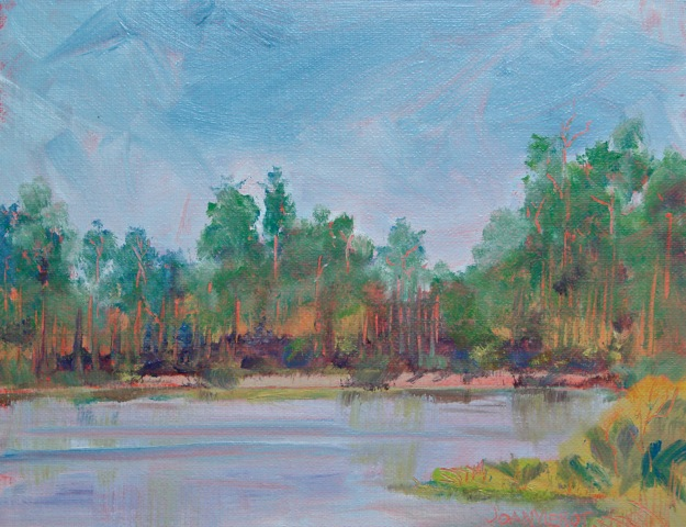 Oil painting of trees on the far side of Cessna Landing at Hogtown Bayou