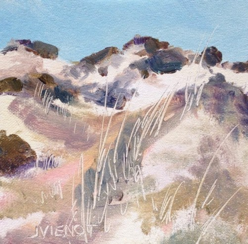 Oil painting of the dunes at Grayton Beach State Park, in the winter