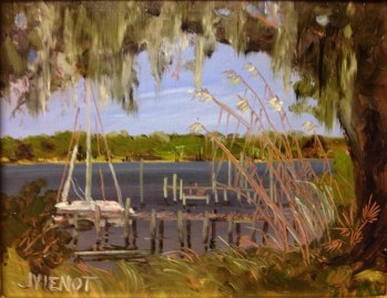 Oil painting of the view from the Oak Marina at Niceville, Florida