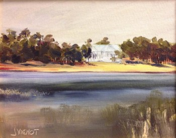 Oil painting of the back of the First Presbyterian Church from across Lake DeFuniak