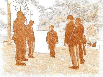 Photograph of troops at Florida Chautauqua Civil War re-enactment, in sepia