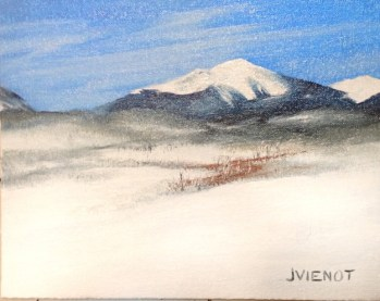 Oil painting of a snowy Colorado mountain scene