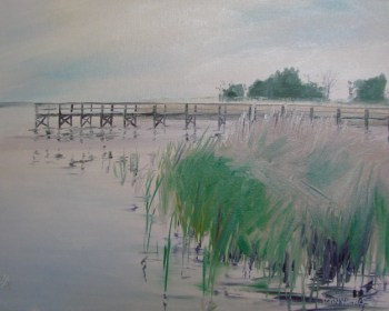 Oil painting of marsh grasses and docks at the edge of the Bridge Marina at Apalachicola, Florida