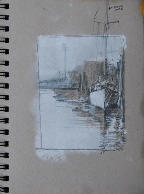 2014-0509 Value Sketch, Docked Sailboat