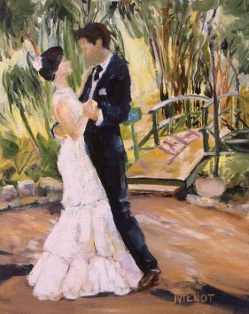 Oil Painting of Couple Dancing Outdoors by Bridge, Painted en Plein Air
