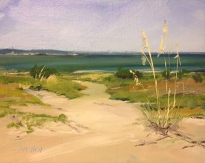 Oil painting of the shore grass along the choctawhatchee Bay on Okaloosa Island, Gulf Islands National Seashore