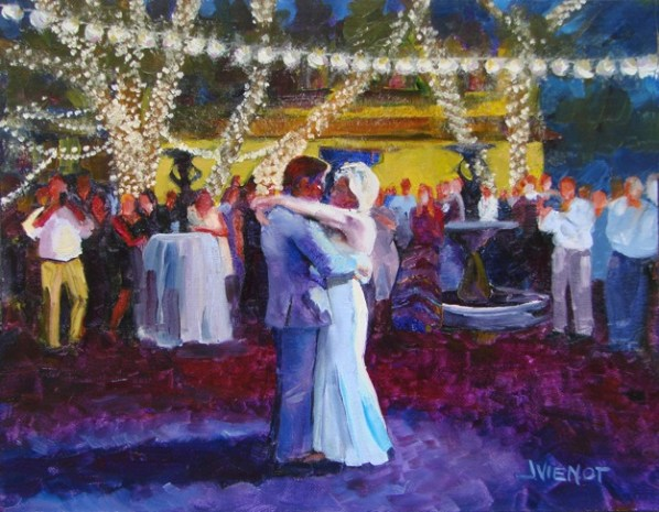 Oil painting of Hunter and Meredith dancing outdoors at Grayt Grounds in wedding reception - final piece