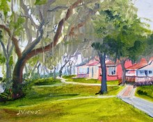 Oil painting of the cottages on the shore of Lake Powell at Camp Helen State Park, Panama City Beach, FL