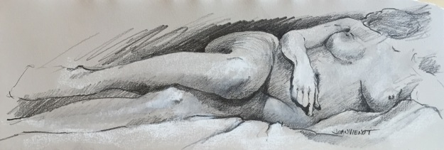 Figure drawing of female reclining on side
