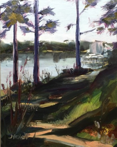 Oil painting of the autumn view from the south end of Lincoln Park in Valparaiso, FL