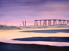 Oil painting of the old pier at Camp Helen State Park, Panama City Beach, FL