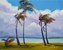 Oil painting, a study of windblown palms, impression of visit to Turks and Caicos Islands