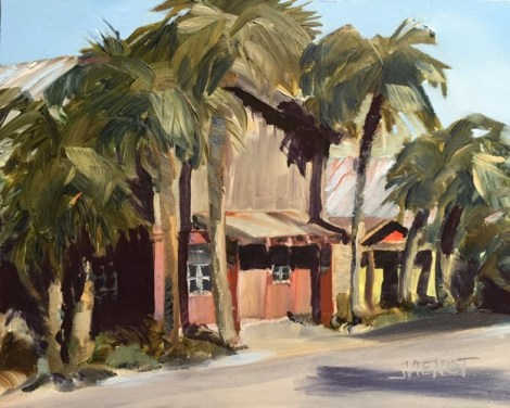 Oil painting of afternoon sunlit buildings on Market Street in Apalachicola