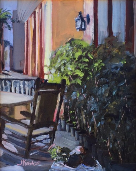 Oil painting of potted plants and rocking chair at the 2015 Apalachicola Quickdraw, sold to a festival attendee