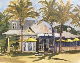 Oil painting of Great Southern Restaurant, in Seaside, FL, painted en plein air