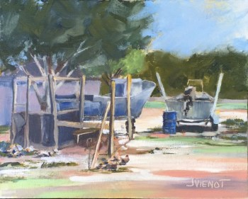 Oil painting of the boats, hens and chicks, in the yard near Nick's Seafood Restaurant in Basin Bayou, FL