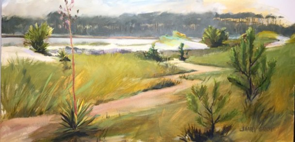 "Plein air oil painting of the ""umbrella trees"" from the south shore of Western Lake at Grayton Beach State Park"