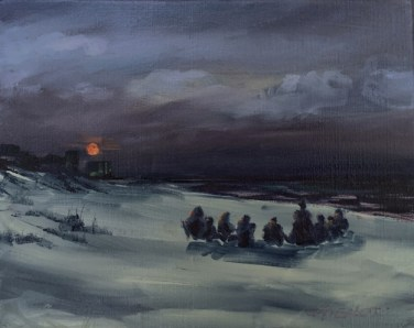 Nocturne en plein air, Oil painting of a drum circle on the beach on the night of the blue moon, 7/31/15