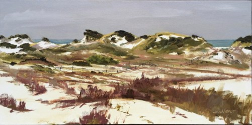 Oil painting of the view of the dunescape from the boardwalk at Deer Lake State Park in Walton County, Santa Rosa Beach, Florida