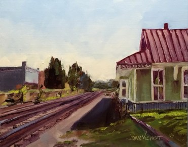 Oil painting of the train depot and tracks at DeFuniak Springs, FL, facing east