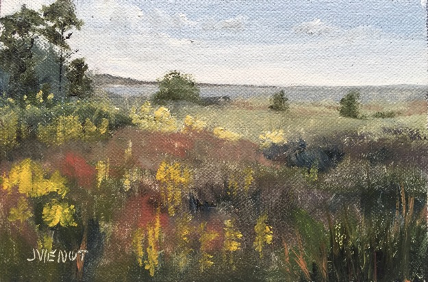 Oil painting of wildflowers in Salinas Park, mid-morning light