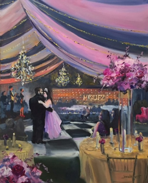 Oil painting of Tamera and Cody Miguez's first dance at their weddingreception in Gulf Place in Santa Rosa beach, Florida