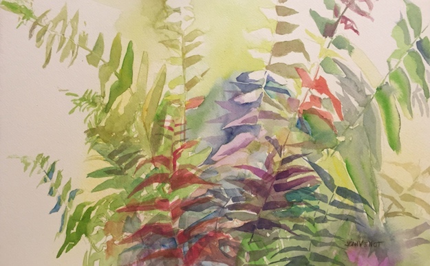 Watercolor painting of a fern at Monet Monet