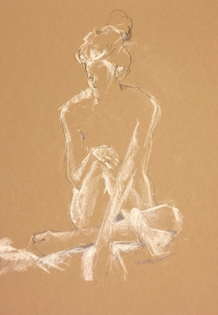 Drawing of light on a woman seated