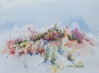 Water color pencil painting of the spring wildflowers and grasses on the dunes